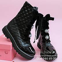 Кожаные черные сапоги для девочки шнуровка тм Олтея р.33, фото 2