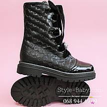 Кожаные черные сапоги для девочки шнуровка тм Олтея р.33, фото 3