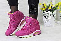 Зимние женские кроссовки Nike Air Max 90 розовые,на меху