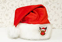 """Новогодняя Шапка Детская Деда Мороза Колпак Санта Клауса Santa Claus с """"Оленем"""""""