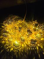 Новогодняя гирлянда золотой шар 5 м.