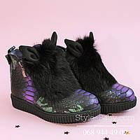 Зимние кожаные ботинки для девочки Ушки тм Olteya р.27,28,32,35