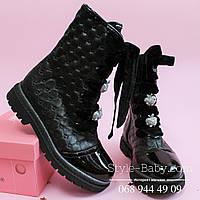 Кожаные черные сапоги для девочки шнуровка яблочки тм Олтея р.30,32, 33