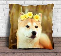 """Подарочная, декоративная подушка """"Собака с одуванчиками"""""""