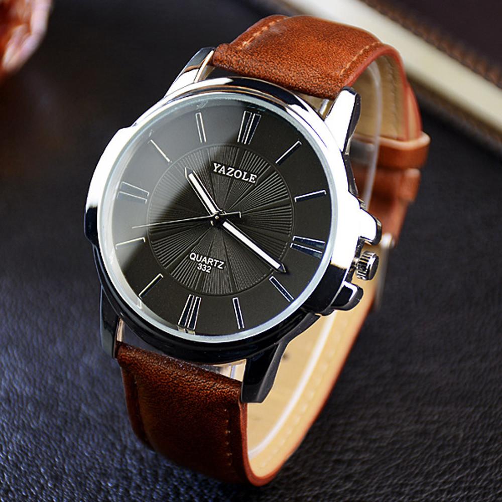 Мужские часы Yazole 332 черные с коричневым ремешком,Годинник наручний чоловічий, Часы мужские наручные
