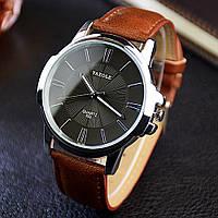 Мужские часы Yazole 332 черные с коричневым ремешком