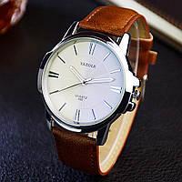 Мужские часы Yazole 332 белые с коричневым ремешком