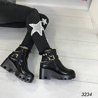 Зимние ботинки на каблуке/подошве