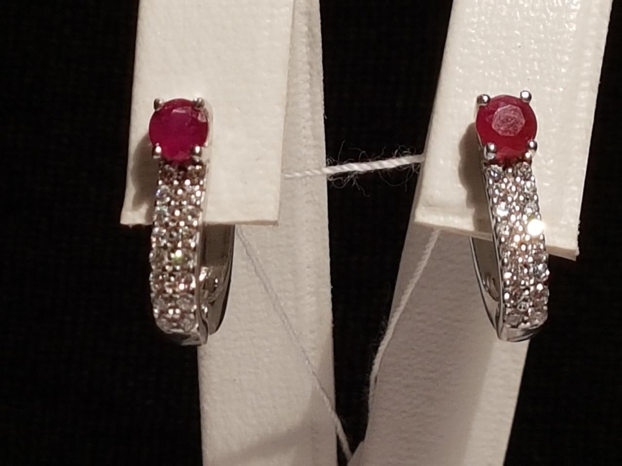 Серебряные серьги Лана с рубинами. Артикул 2135/9р-RUB