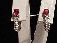 Серебряные серьги Лана с рубинами. Артикул 2135/9р-RUB, фото 1