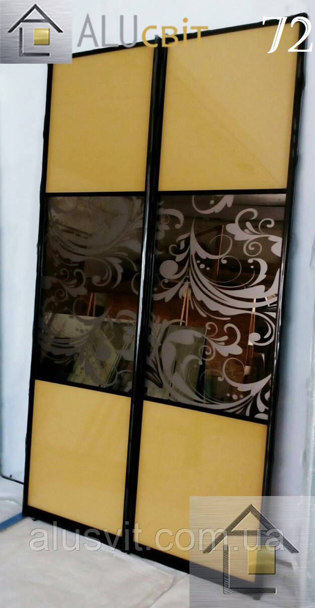 Фасады (двери) зеркало бронза для шкафов купе, гардеробных