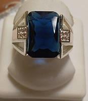 Перстень Авангард с синим цирконием из серебра и золотых накладок