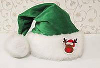 """Новогодняя Шапка Детская Деда Мороза Колпак Санта Клауса Santa Claus с """"Оленем"""", фото 1"""