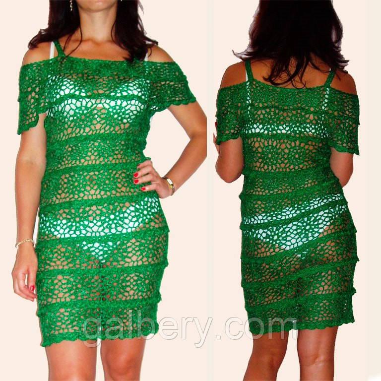 изумрудное вязаное крючком летнее кружевное платье с рюшами цена 2