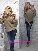 Вязаный женский свободный свитер с глубоким вырезом 14450JS фиолетовый