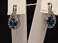 Серебряные серьги Лезгинка с топазами. Артикул 2420/9р-TLB