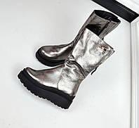 Только 39 размер! Зимние кожаные сапоги на меху серебро