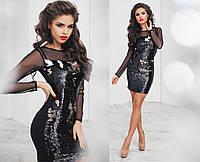 Коктейльное стильное платье с пайетками и длинными прозрачными рукавами