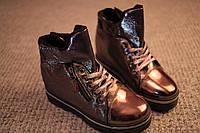 Женские ботинки Dior весна осень флис лак Gun Metal