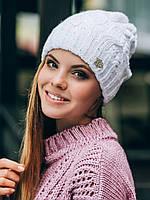Вязаная теплая женская шапка с пайетками осень зима
