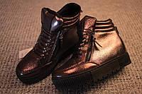 Женские ботинки криперы Dior весна осень флис лак Gun Metal