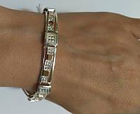 Браслет из серебра 925 с золотом и кубиком циркония Сима, фото 1
