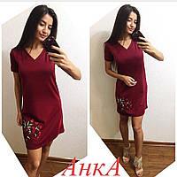 Платье свободное, вышивка роза, расцвтеки, фото 1