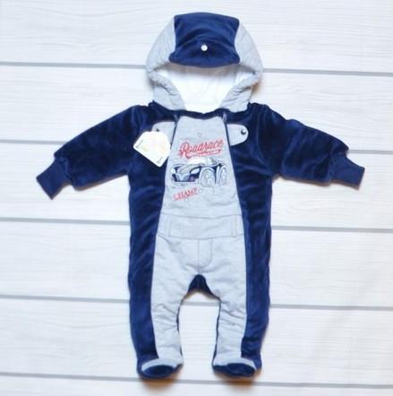 Теплый велюровый комбинезон на синтепоне для мальчика 74 размер - Магазин стильной детской одежды Малючок в Одессе