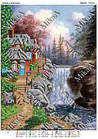 """Схема для частичной вышивки бисером - """"Домик у водопада"""""""