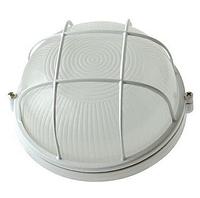 Герметичный светильник с решеткой  ЖКХ IP54, 190х80мм белый круг