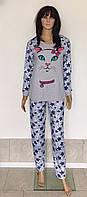 Пижама кофта и штаны для беременных с принтом кошки 44-54 р, пижамы для кормяшек оптом от производителя