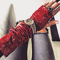 Перчатки-митенки виниловая эко- кожа красные