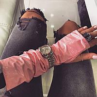 Перчатки-митенки виниловая эко- кожа пудра