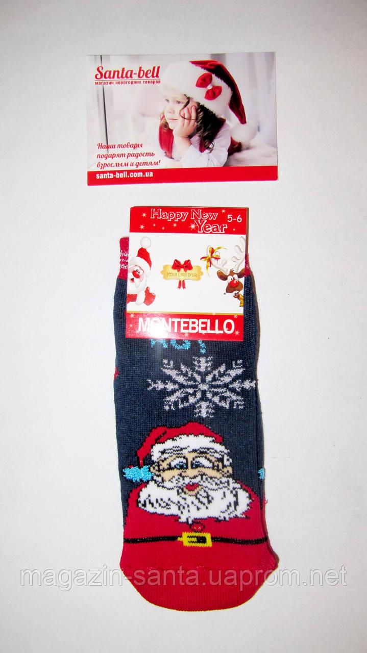 Новогодние носки детские  зимние махровые внутри хлопок Турция размер 7-8лет