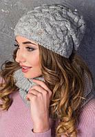 Комплект женский шапка флис с шарфом хомут восьмерка