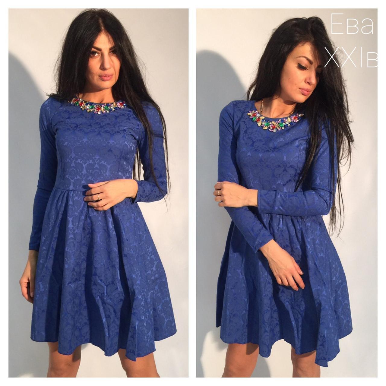 Платье жаккардовое с камнями, синее