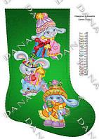 Сапожок для вышивки бисером ТМ Dana 3183ч Новогодние зайки