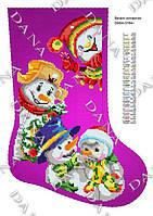 Сапожок для вышивки бисером ТМ Dana 3184ч Веселые снеговики