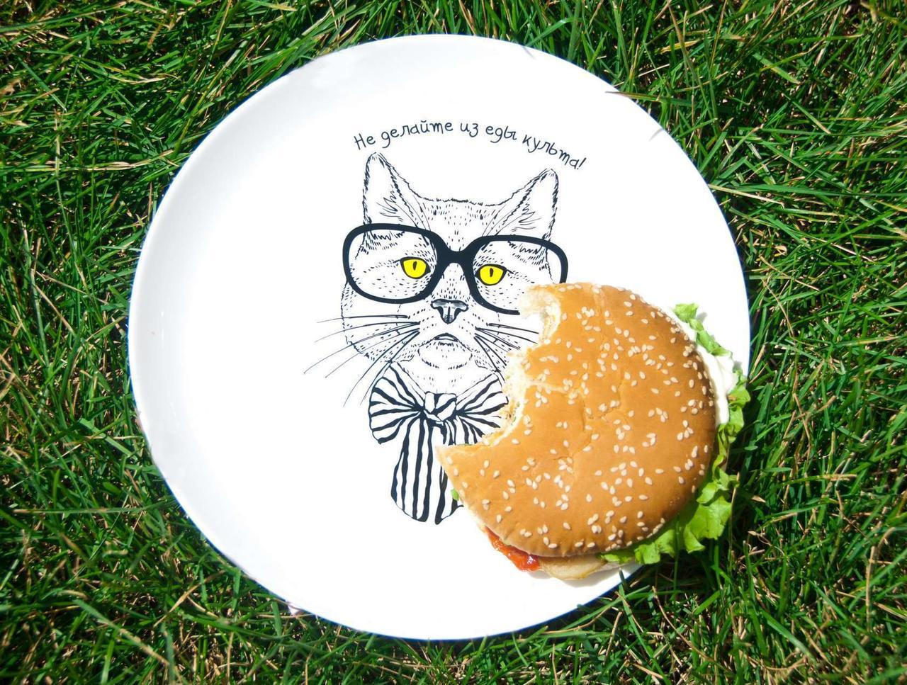 """Тарелка с котом - """"Не делайте из еды культа !"""""""