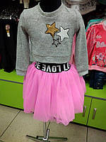 Стильний детский модный костюм для девочки с фатиновой юбкой 26-34