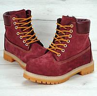 Женские зимние ботинки Timberland 6 inch Bordo с натуральным мехом (Топ реплика ААА+)
