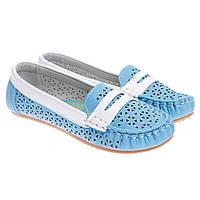 Туфли детские голубые Китай С-9130-17