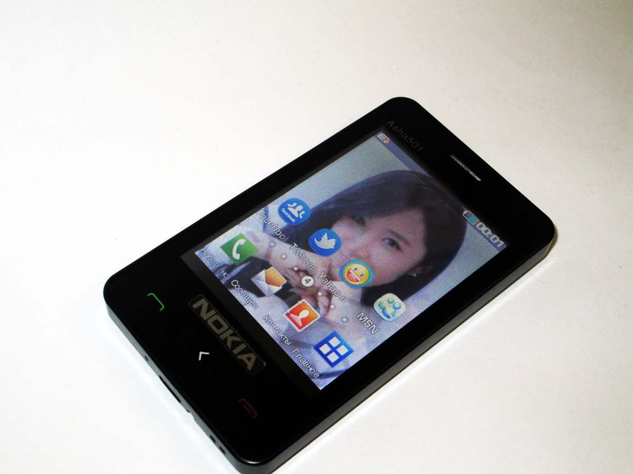 "Телефон Nokia Asha 501 - 2Sim + 3"" TFT + BT + Camera + FM"