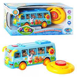 Автобус 7341 (24шт) школьный,муз(рус),свет,танцующий,руль пищалка,на бат-ке,в кор-ке,31-13,5-13см