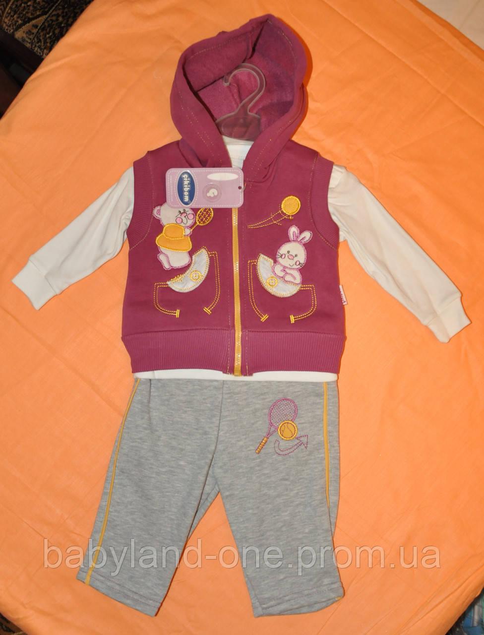 dfdb920b Теплый, Спортивный костюм 3 в 1 для девочки с начесиком, штаны, жилетка,