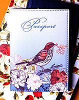 "Обложка на паспорт эко-кожа ""В украинском стиле"" 07"