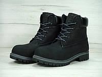 Женские ботинки Timberland черные с мехом топ реплика