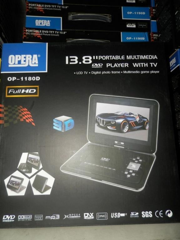 """13,8"""" Портативный TV DVD Opera ИГРЫ USB 3D"""