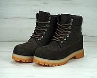 Женские ботинки Timberland коричневые с мехом топ реплика