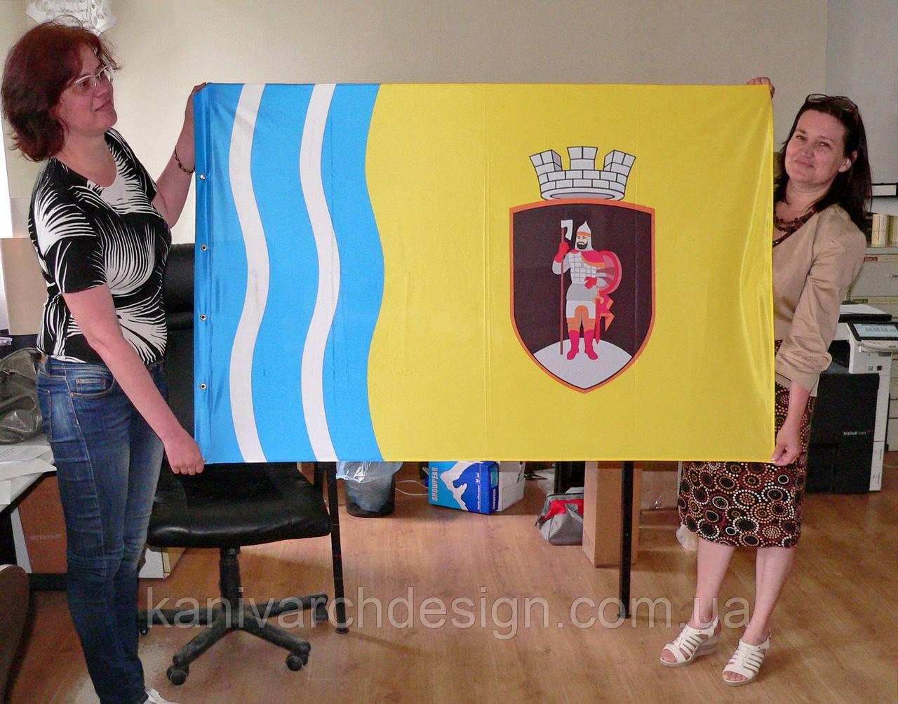 Прапор міста Канева двосторонній розміром 1000х1500мм, прапорна тканина, прошив, люверси для флагштока, фото 1